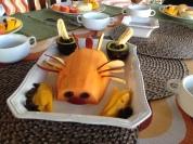 Papaya with mango, avocado, apple and banana