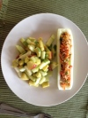 Stuffed cucumber boar and mango salad